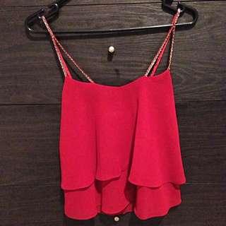 Dark Red Sheer Top