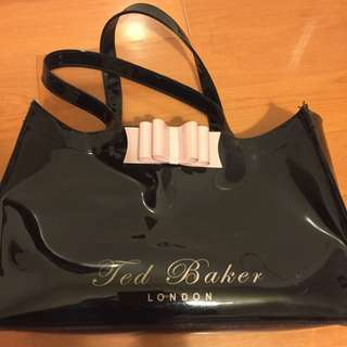 Ted Baker $100 Patent Black Tote With Pink Bow