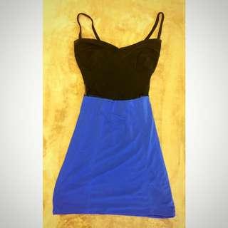 藍黑交接細肩帶性感貼身洋裝