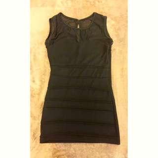 黑色性感透紗切割條紋洋裝