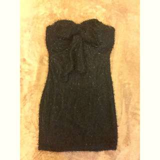 黑色平口蝴蝶結毛毛洋裝
