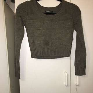 Khaki Crop Sweater
