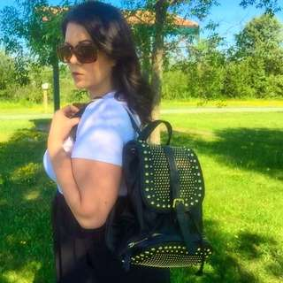 Cute Studded Backpack Style Purse