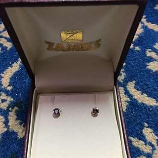 Gold Coated Purple Stone Earings