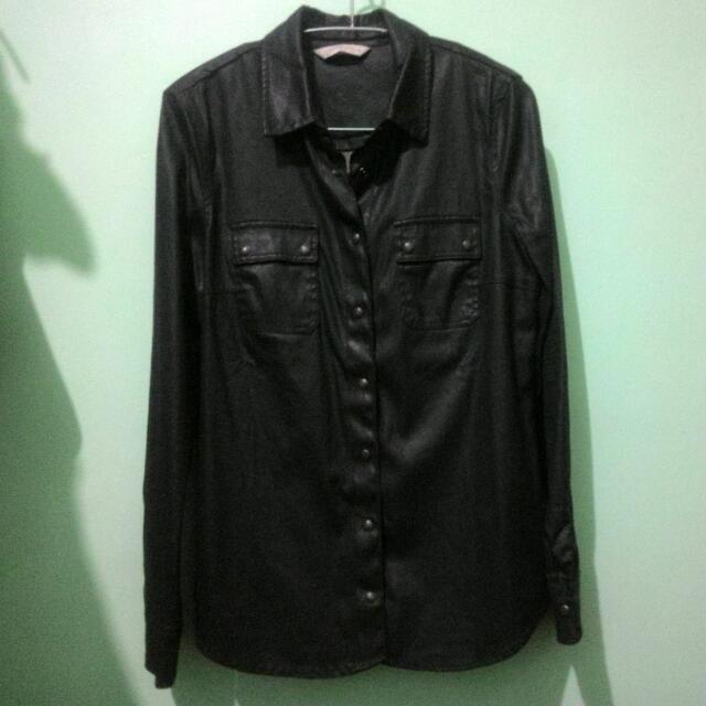 Authentic Mango Leather long sleeves