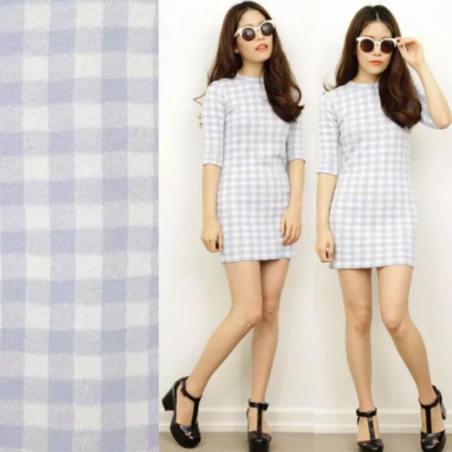 Baby Blue Checked Bodycon Dress Size Small Vintage Gingham Print