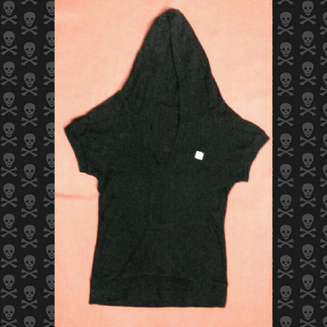 Black Long V-neck Shirt w/ Hood (Chanel)