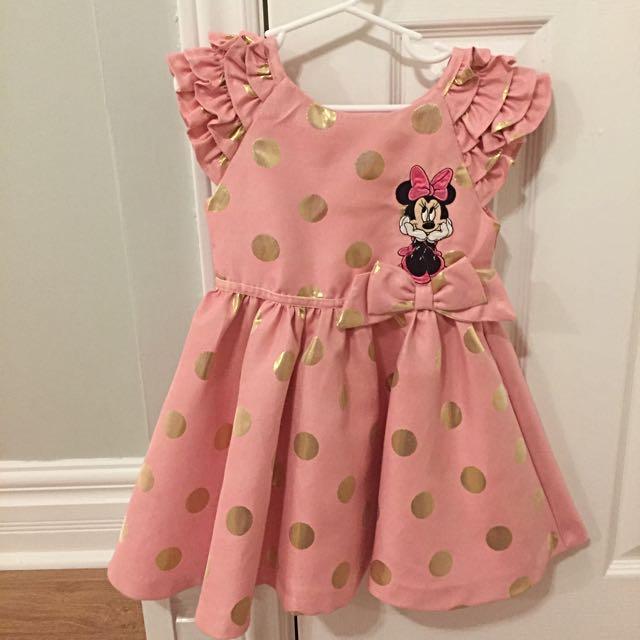 Disney Minnie Mouse Party Dress Sz 4 Pink