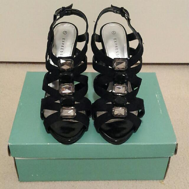 Expression Black Strappy Bedazzled Heels
