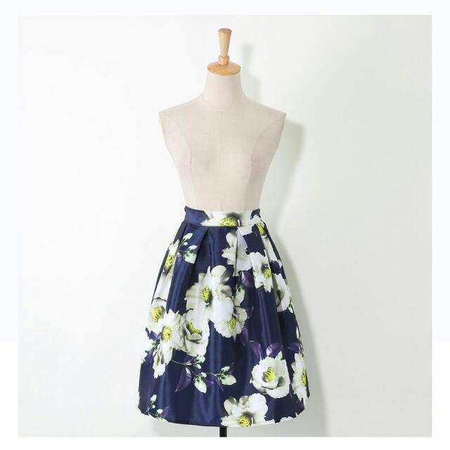Floral A-Line Skirt (Navy Blue)