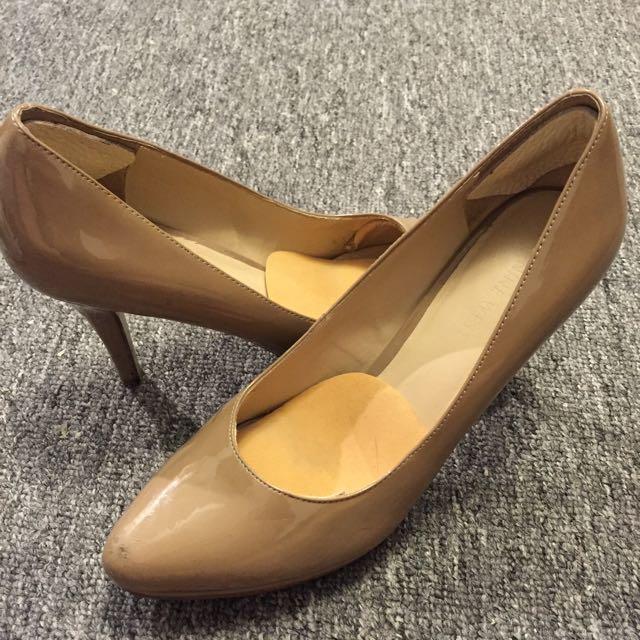 Good Condition Nine West Patent Nude Heels