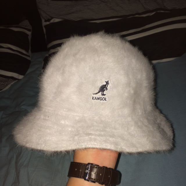 Grey Furry Kangol Bucket Hat