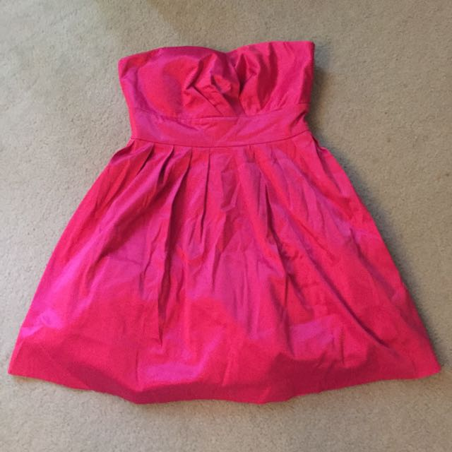 Hot Pink Satin Look Dress With Taffeta Underlay