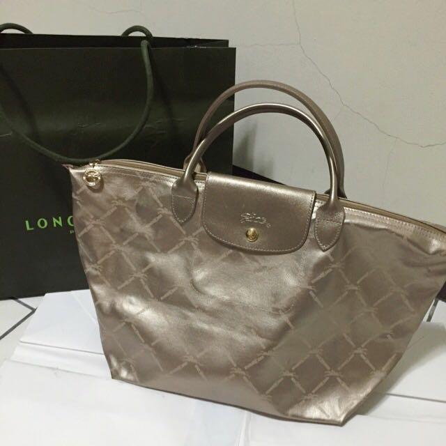 Longchamp 60週年 短把 大包 香檳金