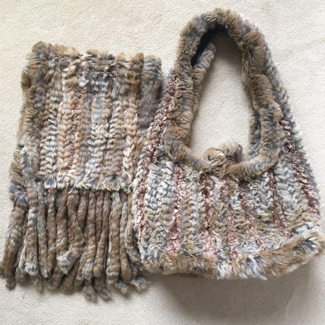 Luxurious Knitted Rabbit Fur Scarf & Bag set