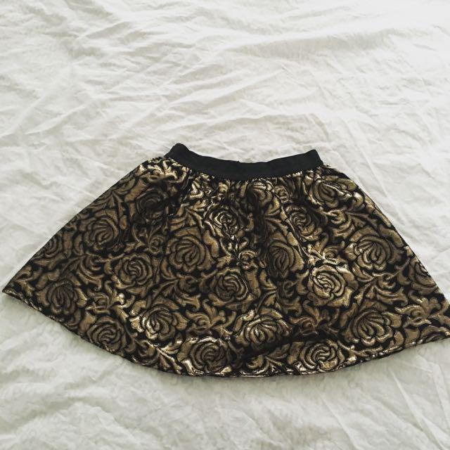 Metallic Gold Rose Embroidery Skirt