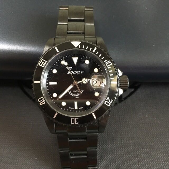 squale 20 atmos dlc black men s fashion watches on carousell