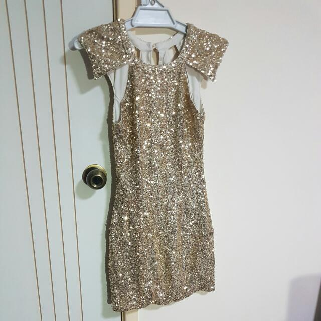 Morning Mist Gold Sparkle Dress