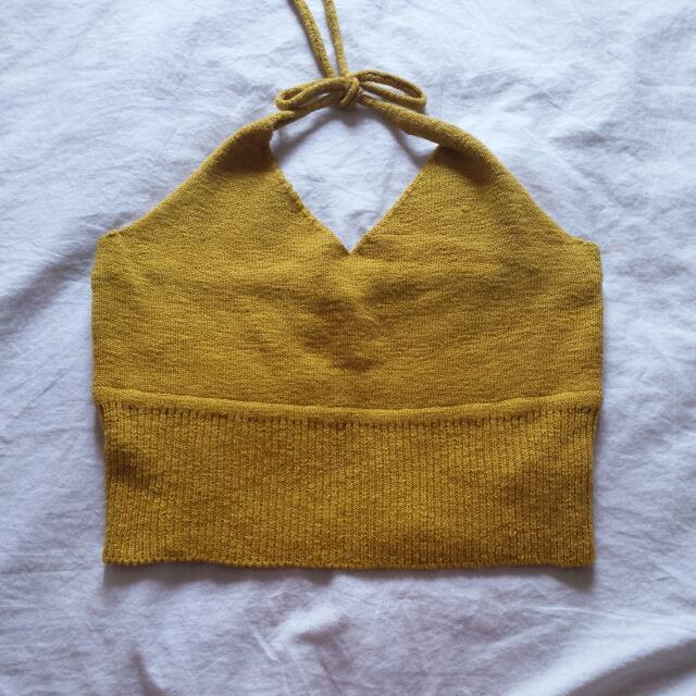 Mustard Bardot Knit Halter