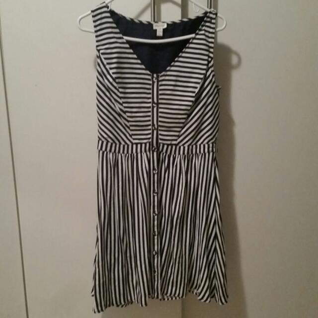 Navy Blue And White Stripe Dress