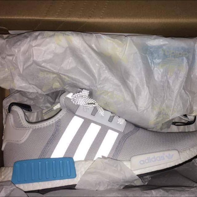 Nmd White And Blue (cyan)