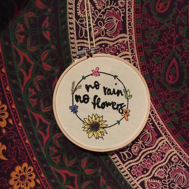 'no rain no flowers' Embroidered Hoop Ring