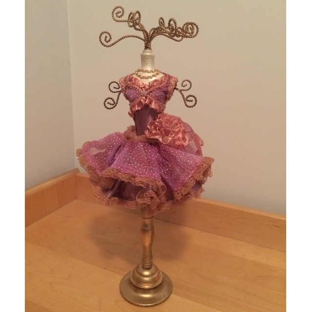 Pink and gold ballerina tutu jewellery stand