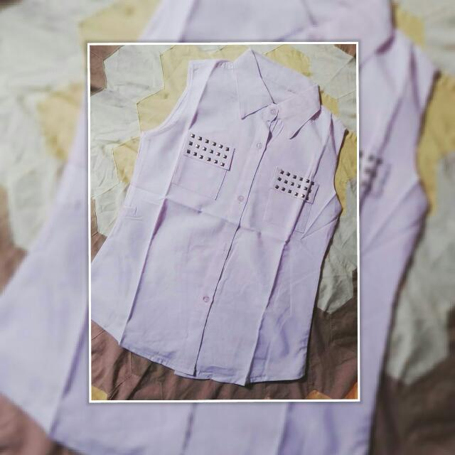 Repriced!180php Pink Sleeveless Top W/ Collar