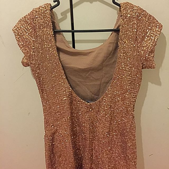 Gold Sequinned Party Dress Size 10