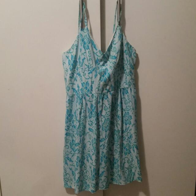 Teal And White Knee Length Dress