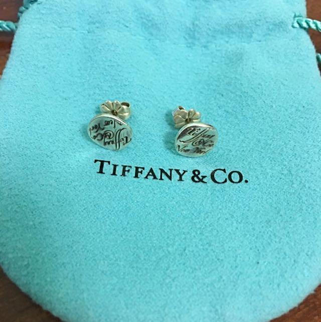 "Tiffany Notes ""Tiffany & Co."" Earrings in Sterling Silver"