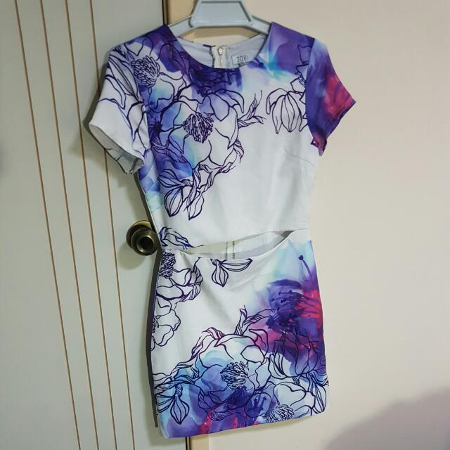 TOBI Purple Floral Bodycon Dress