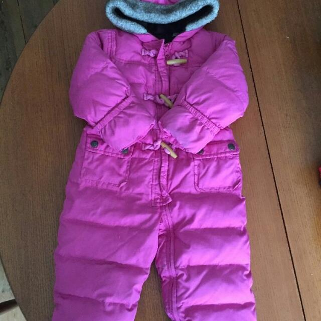Two Gap Snowsuits Nearly New $15 each (6-12 M & 12-18 M); Bundle Me Carseat Blanket (0-12 M) $15; Ingeunity Chair EUC $15 Stroller Blanket Barely Used (12-24 M) $15