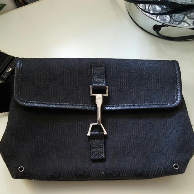a07a5e4f1110 ☇flash Sales $200☇Mono Black Gucci Single Waist Pouch, Luxury on ...