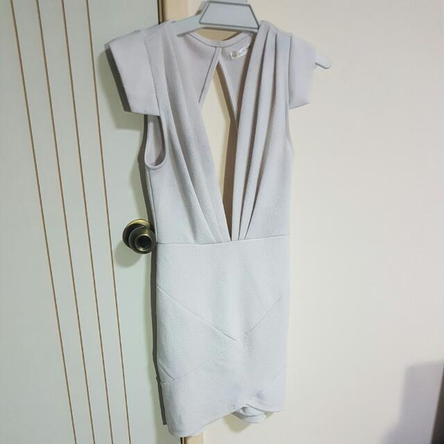 White V Neck Bodycon Dress