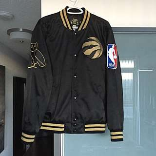Toronto Raptors OVO Mitchell & Mess Satin Black/Gold Jacket (Size M)