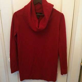 F21 Red Turtleneck Sweater