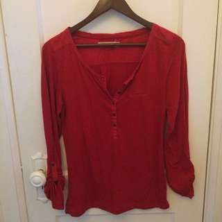 Red Henley Top