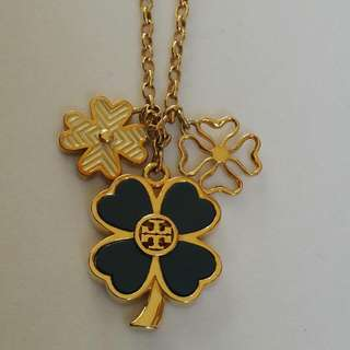 EEUC TORY BURCH LARGE CLOVER GOLD CHAIN WOMEN'S NECKLACE