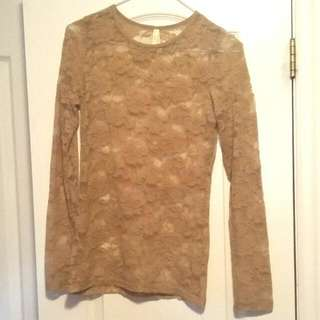 Marciano Nude Lace Shirt: Small