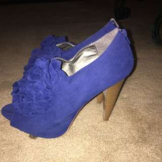 WOMENS CHARLOTTE RUSS BLUE SUEDE SHOES