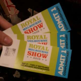 3 Adult Melbourne Show Tickets $20 Each 3 For $50