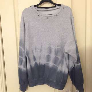 Tie Dye Grey Pullover Jumper From Topshop