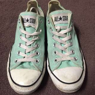 Mint Green Low Rise Converse All Stars