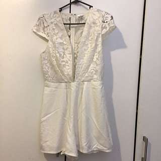 White Lace Low Front Playsuit Size 10