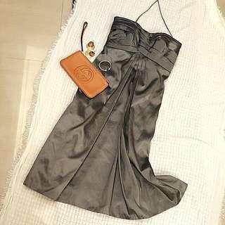 美國購入銀灰色緞面洋裝(娃娃裝)