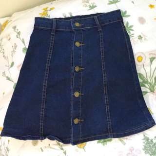 ROMWE  DENIM BUTTON SKIRT