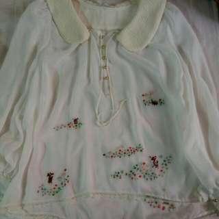Franche Lippee 可愛森林刺繡 雪紡襯衫