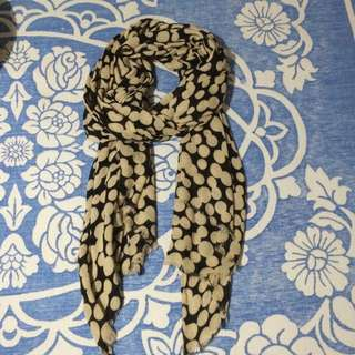Beige And Black Dot Scarf