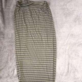 Khaki Stripped Maxi Skirt